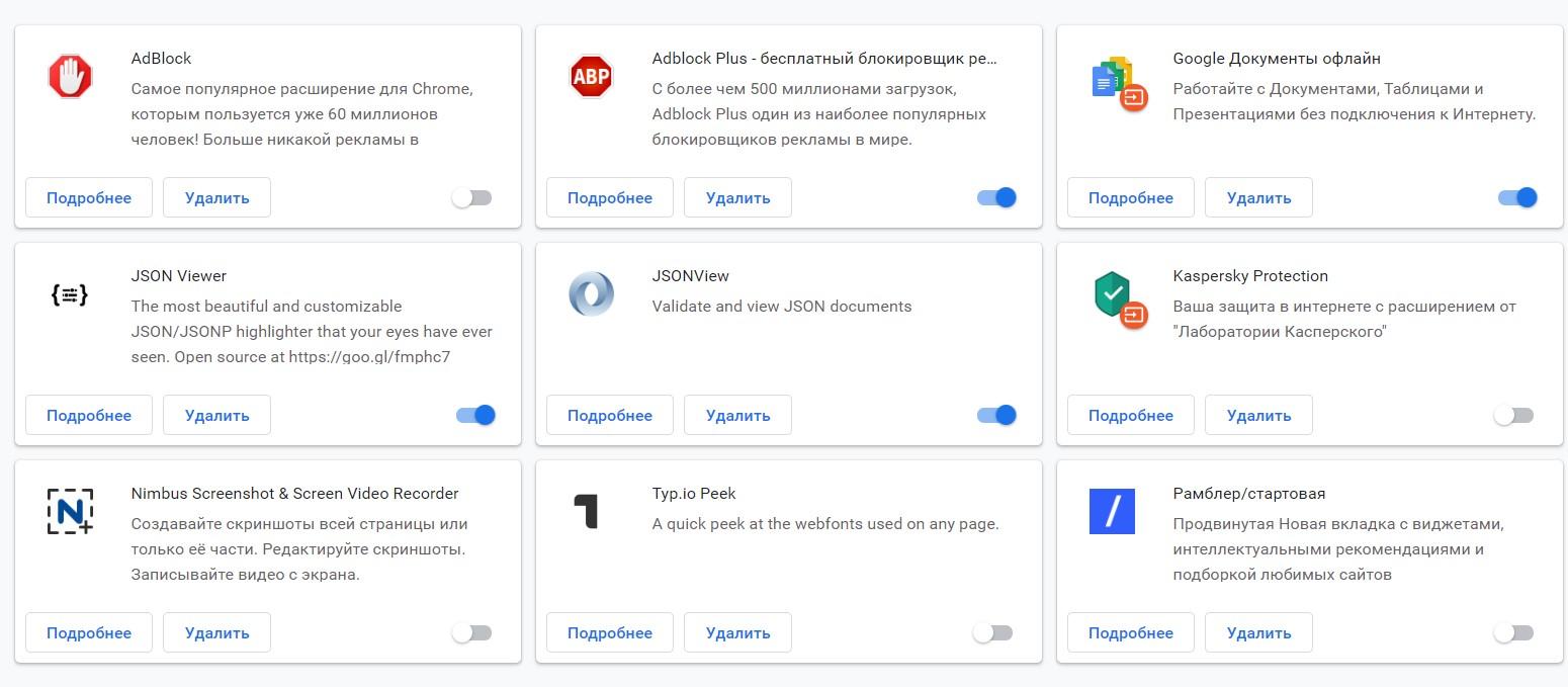 Все расширения, установленные в Google Chrome