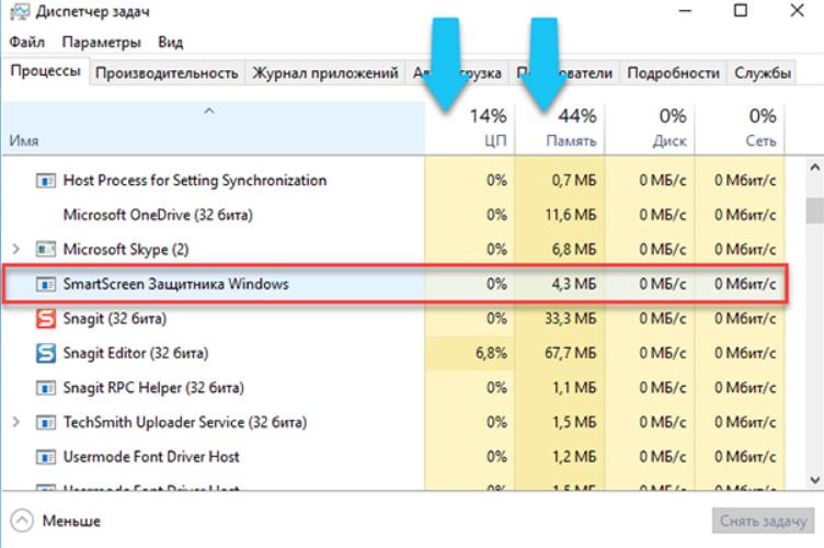 Процесс Windows Smartscreen в диспетчере задач