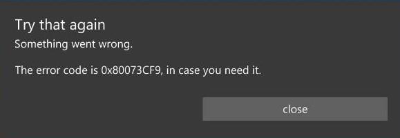код ошибки 0x80073cf9 в Windows 10 Mobile