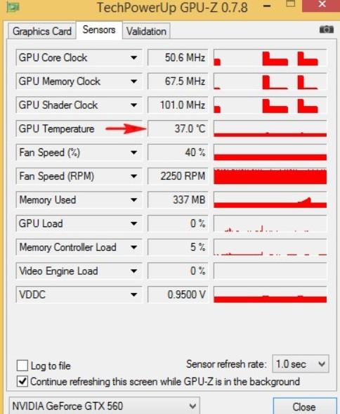 Во вкладке Sensors вы можете увидеть много полезной информации