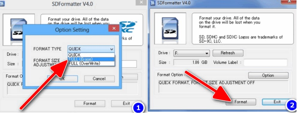 Выбор флешки в SDFormatter
