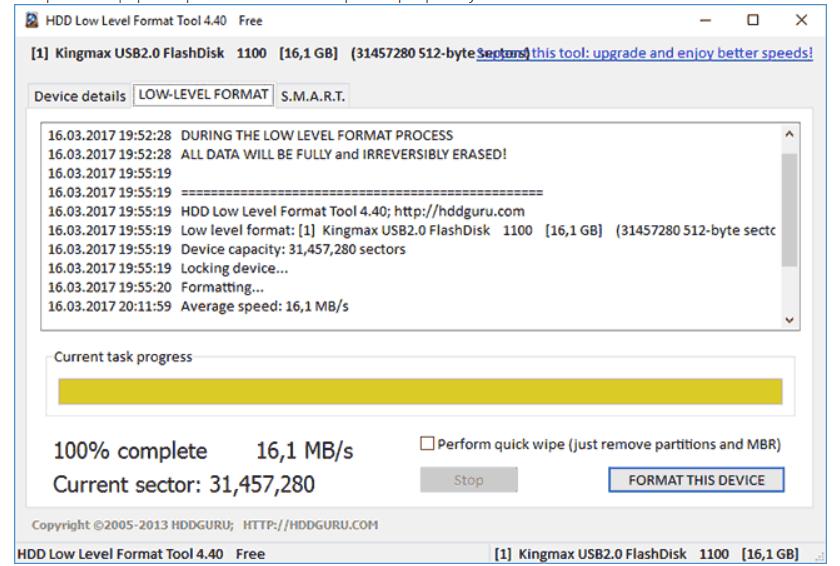 Завершение форматирования в HDD Low Level Format Tool