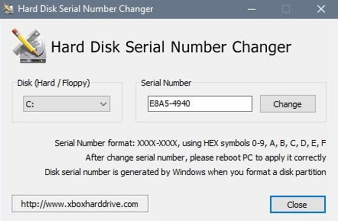 Hard Disk Serial Number Changer